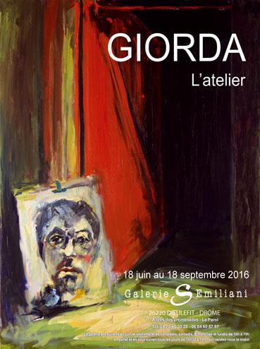 Exposition Giorda, l'Atelier du peintre à la Galerie Emiliani de Dieulefit du 18 juin au 18 septembre 2016