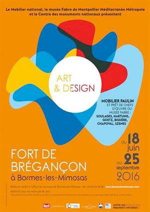 « Art & Design », Mobilier Paulin et prêt de chefs d'œuvre du musée Fabre : Soulages, Hartung, Goetz, Bissiere, Chapoval, Szenes, au fort de Brégançon à Bormes-les-Mimosas du 18 juin au 25 septembre 2016