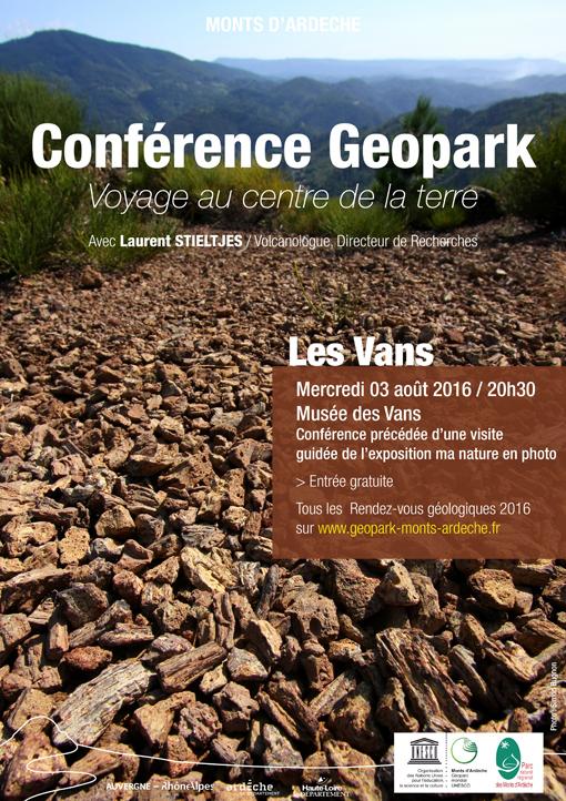 Conférence Géopark : voyage au centre de la terre. Musée des Vans (07), le 3 août 2016