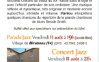 Festival Durance Luberon : Quintet No one but five + two, parade et concert à Mirabeau, Vaucluse, le 11 août 2017