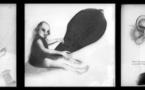 De g. à d.: Chloé COTTALORDA, Une appréhension sacré sur le fil du désir / Le désir par contumas / Pour te murmurer un silence, grisaille sur feuille de verre. © C. COTTALORDA