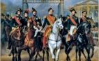 Le roi Louis-Philippe et ses fils sortant par la grille d'honneur du château de Versailles après avoir passé une revue militaire dans les cours, 10 juin 1837, Horace Vernet